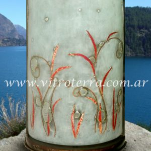 Lámpara de vidrio modelo Hojas