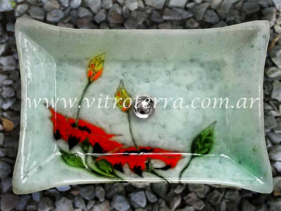 Bacha rectangular de vidrio GBP-Rosa-China