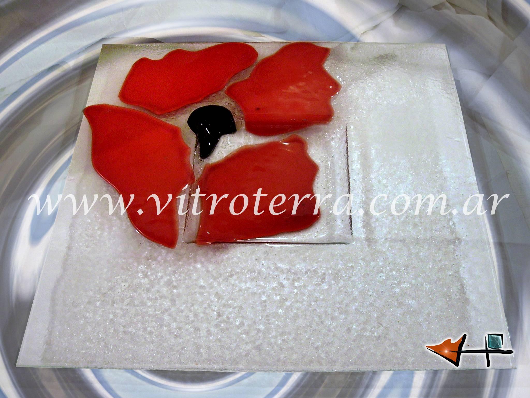 Centro cuadrado de vidrio Rosa-Roja