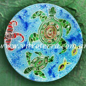 Centro circular de vidrio Turtles
