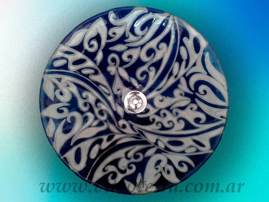 Bacha circular de vidrio Azul Profundo