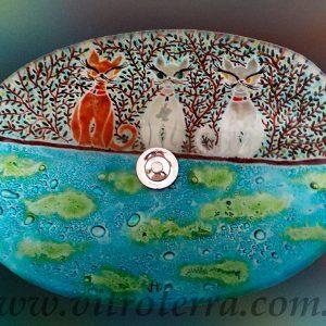 Bacha oval de vidrio Cats