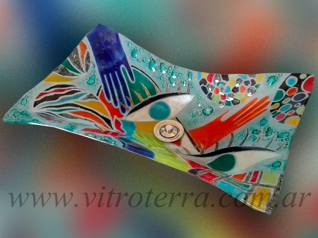Bacha rectangular de vidrio A-Artesano